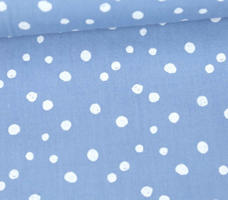 Baumwollstoff - Punktevielfalt - Hellblau/Weiß