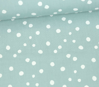 Baumwollstoff - Punktevielfalt - Lichtgrün/Weiß