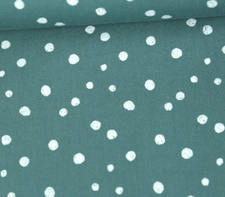 Baumwollstoff - Punktevielfalt - Lichtgrün Dunkel/Weiß