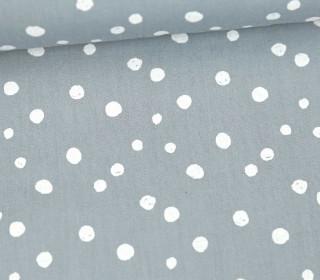 Baumwollstoff - Punktevielfalt - Grau/Weiß