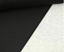 Scuba-Jersey - Doubleface - Uni - Schwarz/ Hellgrau Meliert