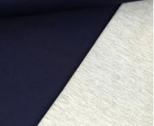 Scuba-Jersey - Doubleface - Uni - Dunkelblau/ Hellgrau Meliert