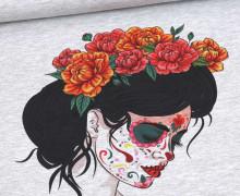 Sommersweat - Paneel - Catrina - Dia de los Muertos - Hellgrau Meliert - Halloween - abby and me