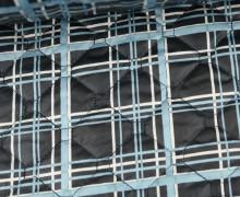 Steppstoff - Rechtecke - Leicht Glänzend - Wattiert - Schwarz/Blau/Weiß