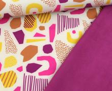 Softshell - Fleece - Muster Abstrakt - Creme