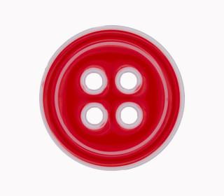 1 Polyesterknopf - 28mm - 4-Loch - Rot/Weiß