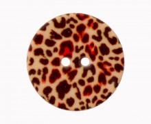 1 Polyesterknopf - Leopardenmuster -  20mm - 2-Loch - Hellbraun