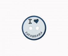 1 Polyesterknopf - I Love Papa&Mama -  15mm - 2-Loch - Weiß/Schwarzblau