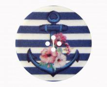 1 Polyesterknopf - Anker mit Blumen - Gestreift - 15mm - 4-Loch - Dunkelblau