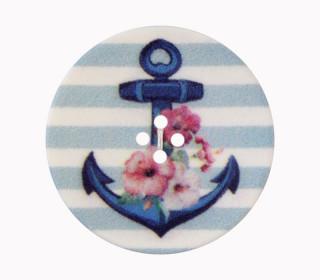 1 Polyesterknopf - Anker mit Blumen - Gestreift - 23mm - 4-Loch - Hellblau