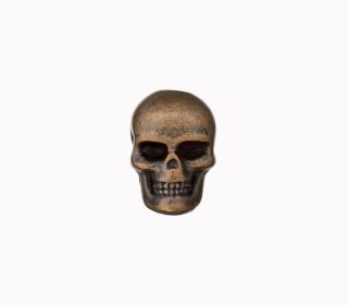 1 Kordelende - Totenkopf - Metall - 15mm - Messing Dunkel