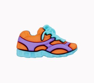 1 Polyesterknopf - Öse -  Sneaker - 23mm - Orange/Lila/Hellblau