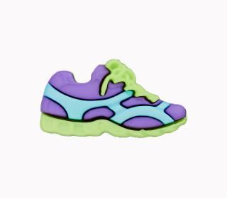 1 Polyesterknopf - Öse -  Sneaker - 23mm - Lila/Cyanblau/Gelbgrün