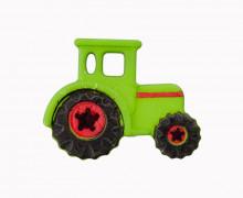 1 Polyesterknopf - Öse -  Traktor - 23mm - Grün