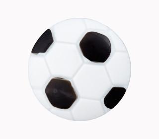 1 Polyesterknopf - Öse -  Fussball - 18mm - Schwarz/Weiß