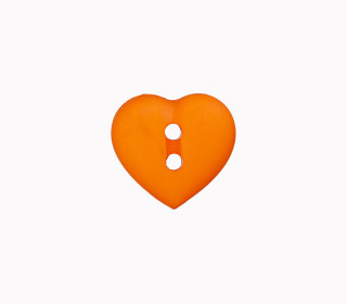 1 Polyesterknopf - Herz -  15mm - 2-Loch - Orange