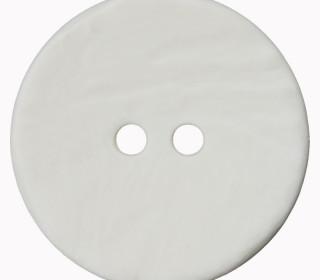 1 Polyesterknopf - Rund -  30mm - Leichte Struktur - 2-Loch - Weiß