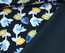 Softshell - Fleece - Herbstblumen - Dunkelblau/Dunkelblau