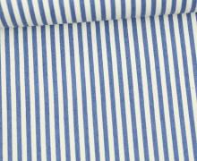 Baumwollstoff - Jeans Optik - Schmale Streifen - Jeansblau Hell/Weiß
