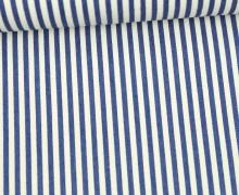 Baumwollstoff - Jeans Optik - Schmale Streifen - Jeansblau/Weiß