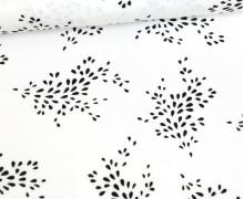 Viskose - Blusenstoff - Punkteblumen - Weiß/Schwarz
