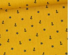 Baumwollstoff - Sea Adventures - Poppy - Senfgelb