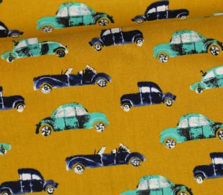 Baumwollstoff - Cool Cars - Poppy - Senfgelb
