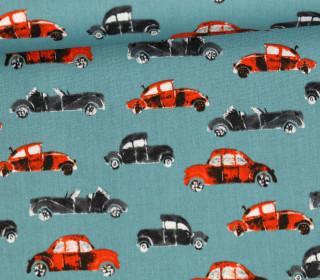 Baumwollstoff - Cool Cars - Poppy - Lichtgrün Dunkel