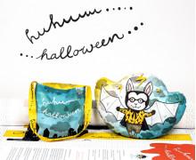 Kissenstoff - DIY - Fledermaus Junge - Kleine Sammeltasche - Sammelwimpel - Halloween - formenfroh - abby and me