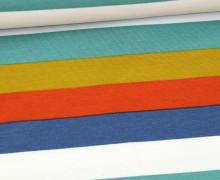 Sommersweat - French Terry - Streifen - Bunt - Weiß/Taubenblau/Orange Dunkel/Olivgelb/Jadegrün