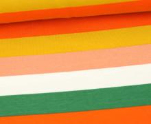 Sommersweat - French Terry - Streifen - Bunt - Weiß/Orange Hell/Ocker/ Grün/ Puder Dunkel