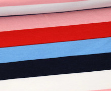 Sommersweat - French Terry - Streifen - Bunt - Weiß/Rosa/Rot/Hellblau/Dunkelblau