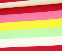 Sommersweat - French Terry - Streifen - Bunt - Weiß/Pastellgrün/Gelb/Pink/Dunkelrot
