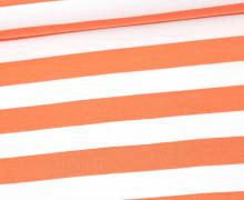 Sommersweat - French Terry - Preppy Stripe - Streifen - Weiß/Lachsorange