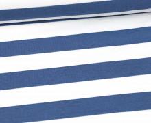 Sommersweat - French Terry - Preppy Stripe - Streifen - Weiß/Taubenblau