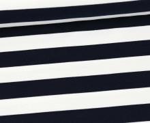Sommersweat - French Terry - Preppy Stripe - Streifen - Weiß/Nachtblau