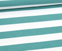 Sommersweat - French Terry - Preppy Stripe - Streifen - Weiß/Lichtgrün Dunkel