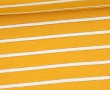 Sommersweat - French Terry - Lurex Streifen Gold - Senfgelb