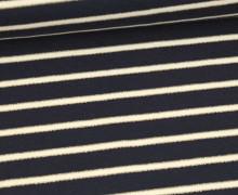 Sommersweat - French Terry - Lurex Streifen Gold - Blaugrau Dunkel