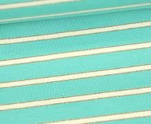 Sommersweat - French Terry - Lurex Streifen Gold - Mintgrün