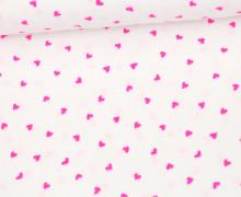 Musselin Luca - Muslin - Double Gauze - Kleine Pinke Herzen - Weiß
