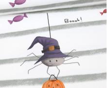 Sommersweat - Kleine Spinne Tessa - Paneel - Streifen und Süßigkeiten - Halloween - Weiß - Angelina Borgwardt - abby and me