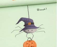 Sommersweat - Kleine Spinne Tessa - Paneel - Kürbisse - Halloween - Pastellgrün - Angelina Borgwardt - abby and me