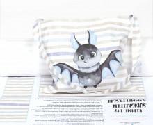 DIY-NÄHSET - Kleine Süßigkeiten Sammel-Tasche - Halloween - Fledermaus Hellblau - abby and me