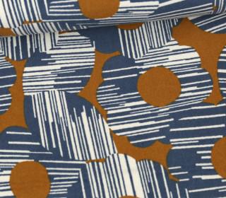 Baumwollsamt - Velvet - Muster Grafisch - Elastisch - Tillisy - Taubenblau/Senfgelb/Weiß