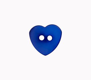 1 Polyesterknopf - Herz -  12mm - 2-Loch - Blau