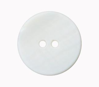 1 Perlmuttknopf - Rund -  15mm - 2-Loch - Weiß