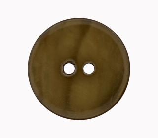 1 Perlmuttknopf - Rund -  15mm - 2-Loch - Olivgrün