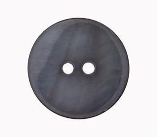 1 Perlmuttknopf - Rund -  15mm - 2-Loch - Grau