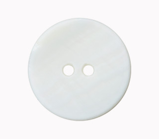 1 Perlmuttknopf - Rund -  20mm - 2-Loch - Weiß